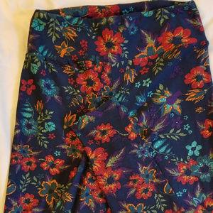 LulaRoe Leggings OS Flowers Blue Purple Red Orange
